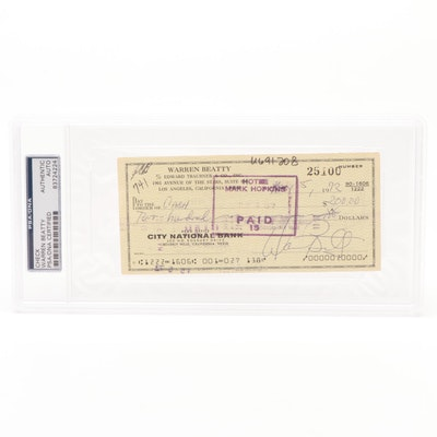 Actor Warren Beatty PSA/DNA Certified Autograph Personal Check, 1972