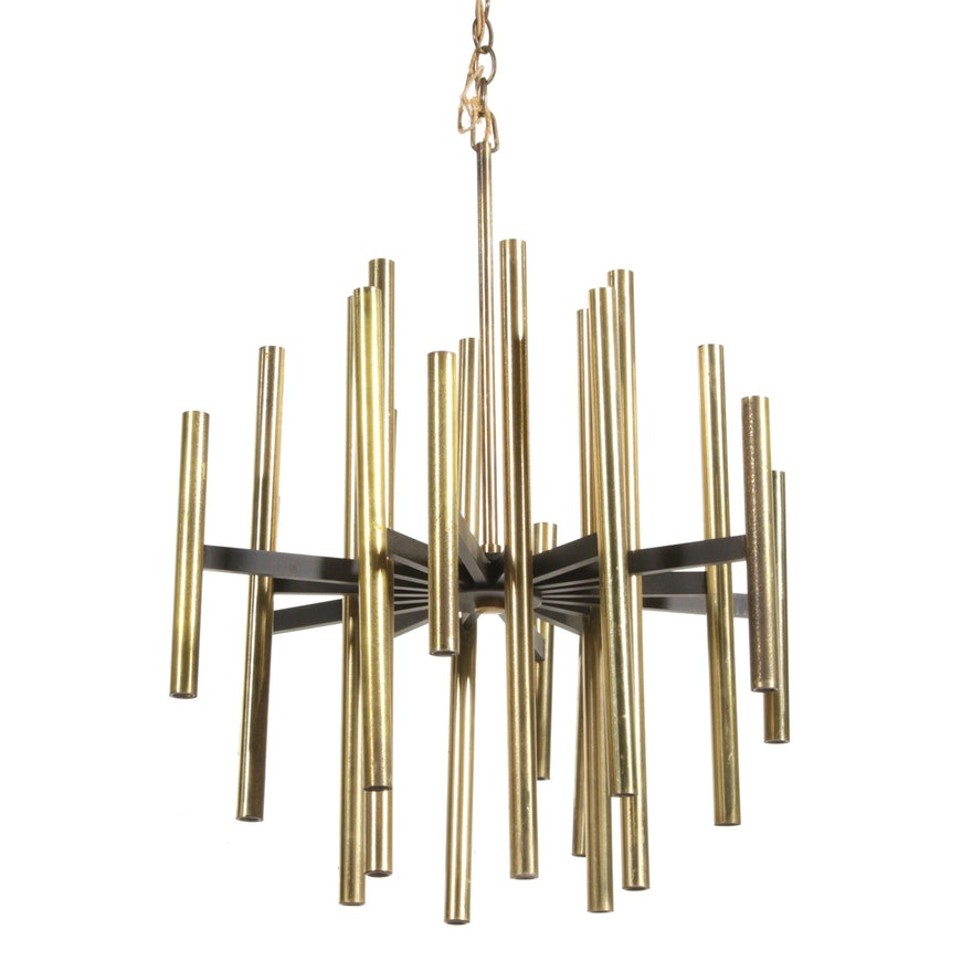 Mid Century Modern Brass Cylindrical 36 Light Chandelier