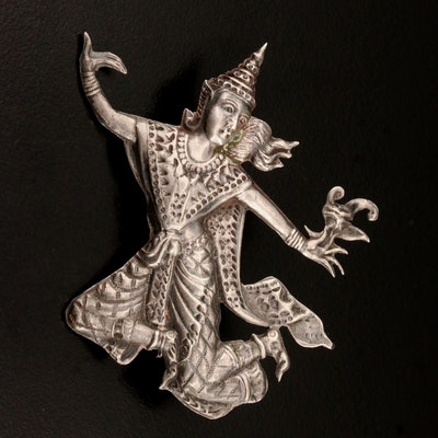 Siam Sterling Thai Dancer Brooch