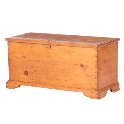 American Primitive Pine Blanket Chest, 19th Century