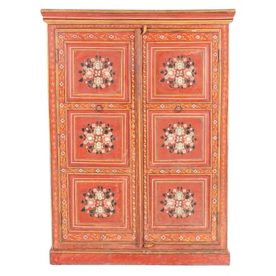 Bauernmalerei Style Folk-Painted Cabinet, 19th Century