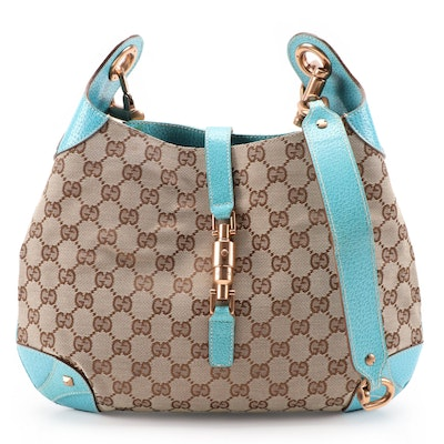 Gucci Piston Lock Hobo Bag in GG Canvas with Aqua Leather Trim