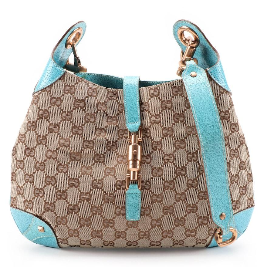 Gucci Piston Lock Hobo Bag in GG Canvas with Aqua Leather Trim