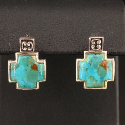 Sterling Stud Earrings with Turquoise Reversible Enhancers