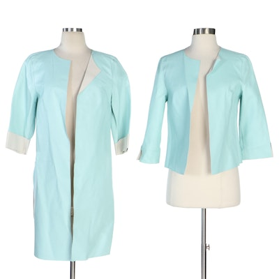 Escada Reversible Leather Jackets in Seafoam Blue and Off-White
