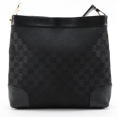Gucci Shoulder Bag in Black GG Canvas with Black Leather Trim