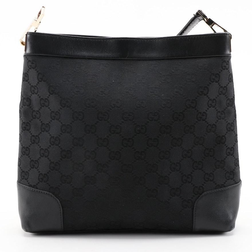 Gucci Shoulder Bag in Black GG Canvas with Black Leather Trim