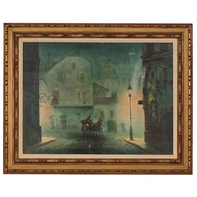 European Street Scene with Horse and Buggy Acrylic Painting, Late 20th Century