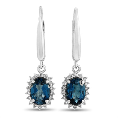 14K White Gold 0.20 ct Diamond and Topaz Earrings