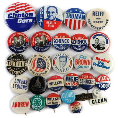 U.S. Presidential and Other Campaign Political Pinbacks with Tabs