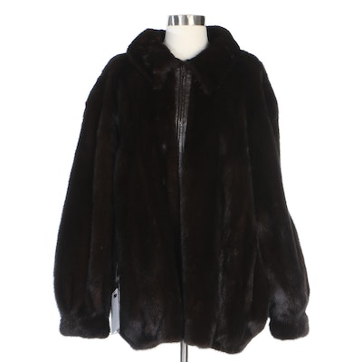 Reversible Natural Mahogany Mink Fur and Leather Jacket with Banded Cuffs