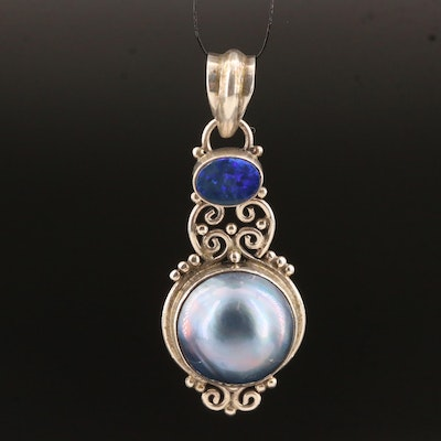 Sterling Silver Pearl and Opal Doublet Pendant with Scrolling Design