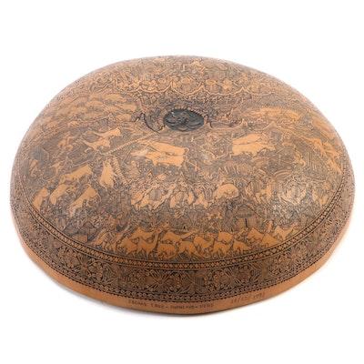 Peruvian Scrimshaw Gourd Bowl of Gran Concurso de Danzantes de Tijera