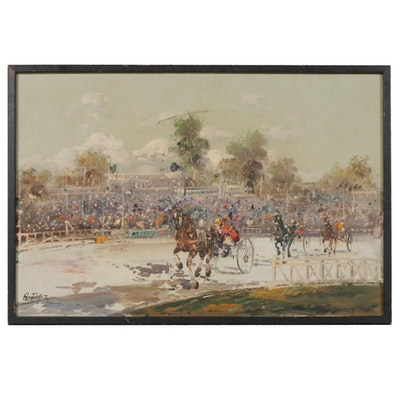 Oil Painting of Horse Race