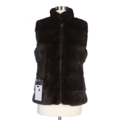Natural Mahogany Mink Fur Vest with Leather Back