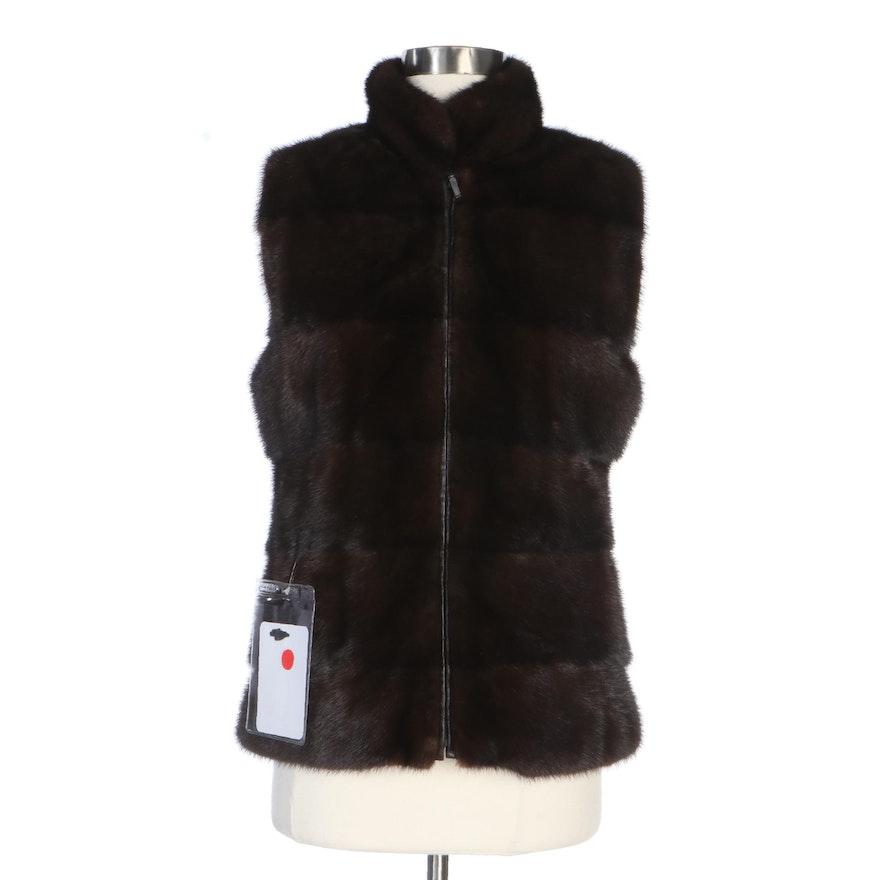 Natural Mahogany Mink Fur Vest with Leather Back