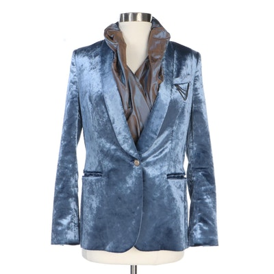 Brunello Cucinelli Blue Velvet Jacket with ETRO Iridescent Silk Wrap Shirt