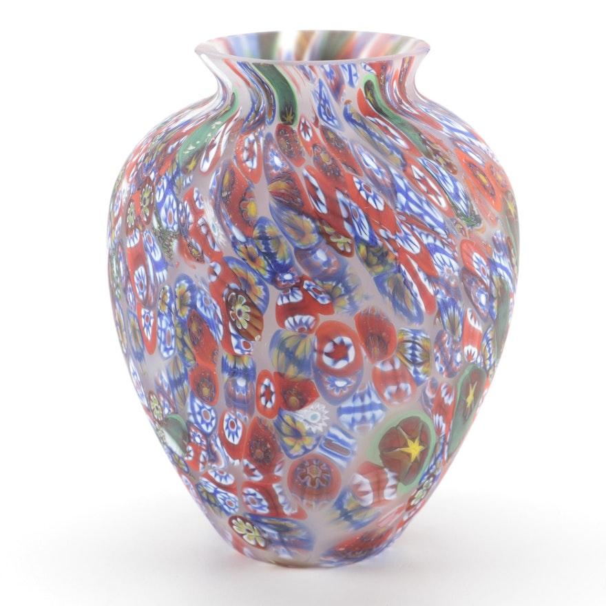 Millefiori Satin Glass Vase