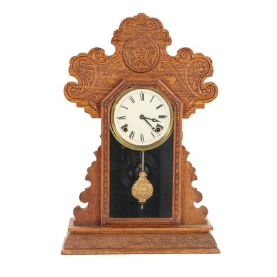 Ingraham Colonial Style Carved Wood Mantel Clock with Star Design