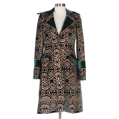 Roberto Cavalli Brocade Style Green Velour Semi-Fitted Coat