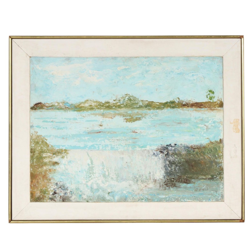 """Augusta Beck Oil Painting """"The Lake"""""""