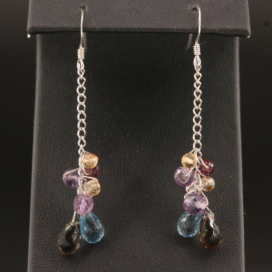 Sterling Topaz, Garnet and Amethyst Dangle Earrings