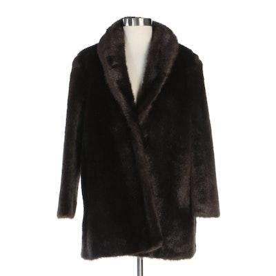 Roman Rolle Brown Faux Fur Shawl Collar Coat