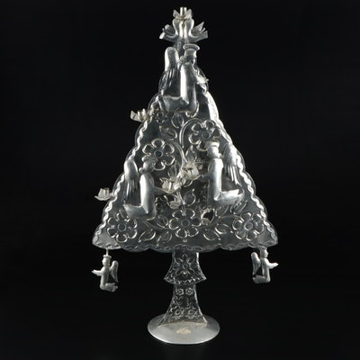 Mexican Folk Art Stamped Metal Christmas Tree Candle Holder