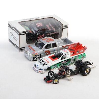 Diecast Chevy Supertruck, NHRA John Force Funny Car and Dale Sr. GM Truck