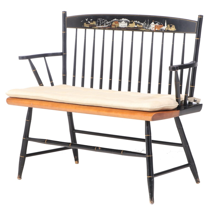L. Hitchcock Parcel-Ebonized, Gift-Decorated, and Stenciled Rod-Back Bench
