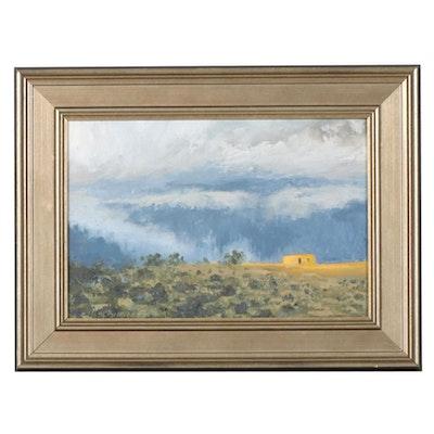 "Marcus Brewer Impressionist Style Oil Painting ""Ridge Pueblo"""