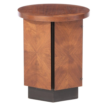 Lane Mid Century Modern Walnut and Parcel-Ebonized Side Table
