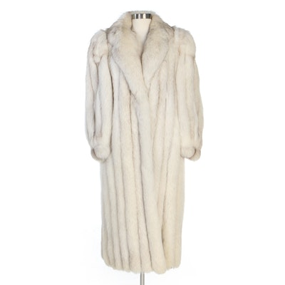 Corded Fox Fur Coat with Notched Collar