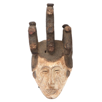 "Igbo ""Agbogho Mmwo"" Polychrome Wooden Mask of Maiden Spirit, Nigeria"