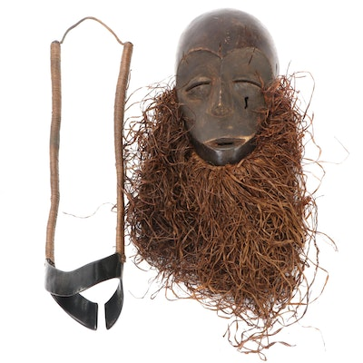 Lega Carved Wood Mask and African Wire Arm Brace