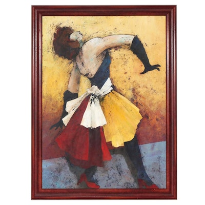 Abstract Oil Painting of Abstract Dancing Female Figure, 1998