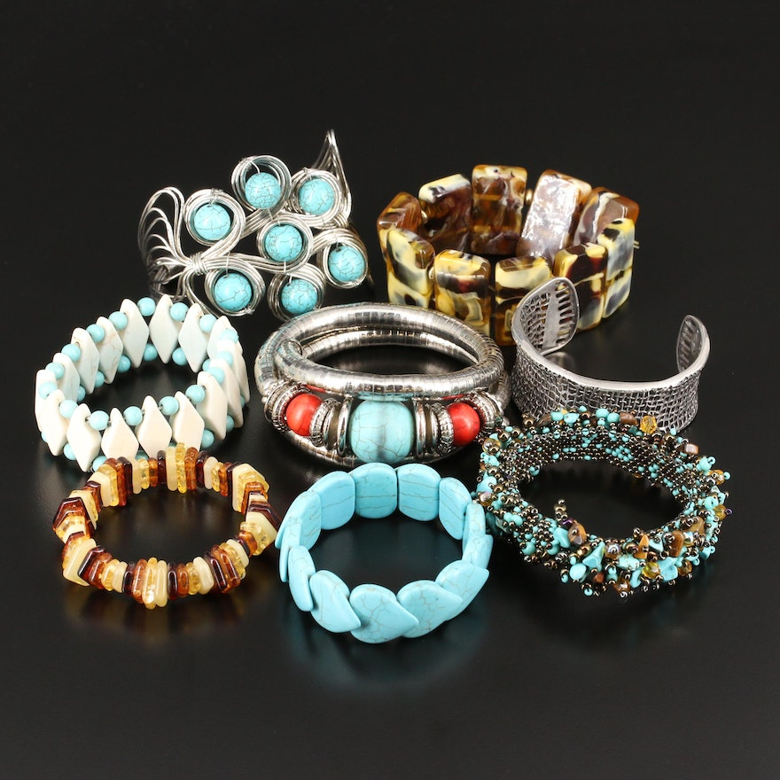 Collection of Bracelets Including Wrap Bracelet and Silpada Cuff