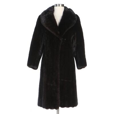 Blackglama Dark Ranch Mink Fur Coat with Shawl Collar