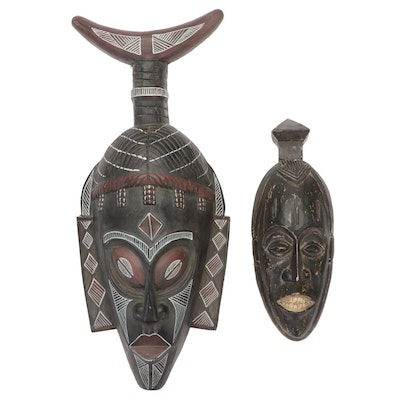West African Style Decorative Wooden Masks, 20th Century