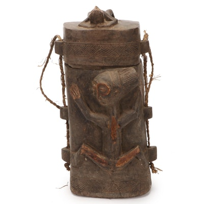 Luba Style Hand-Carved Wooden Container, Central Africa
