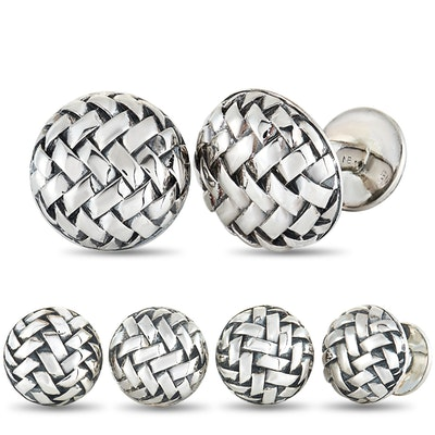 Scott Kay Sterling Silver 4 Tuxedo Buttons and Cufflinks Set