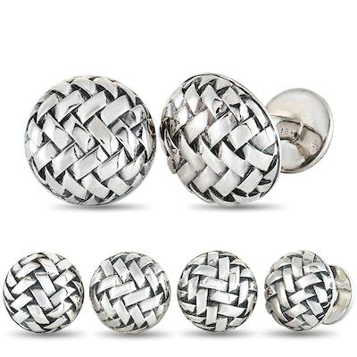 Scott Kay Sterling Silver 4 Tuxedo Buttons and Cufflinks Set