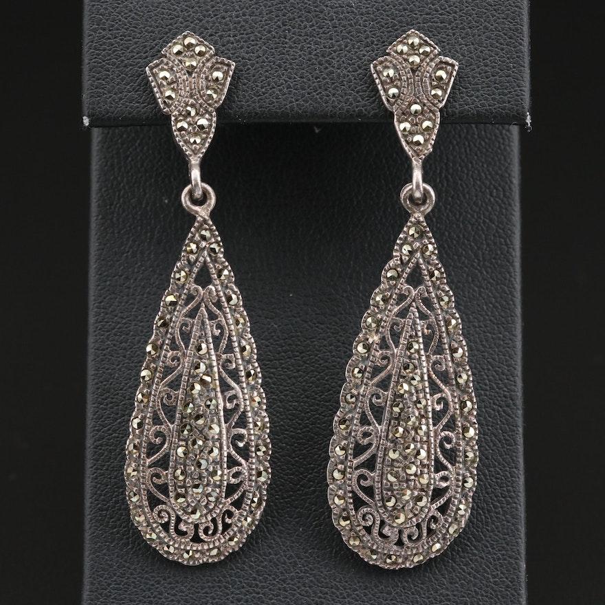 Sterling Silver Marcasite Openwork Earrings