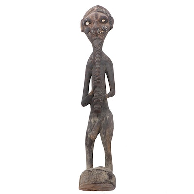 Iatmul Style Ancestor Figure with Shell Inlay, Papua New Guinea