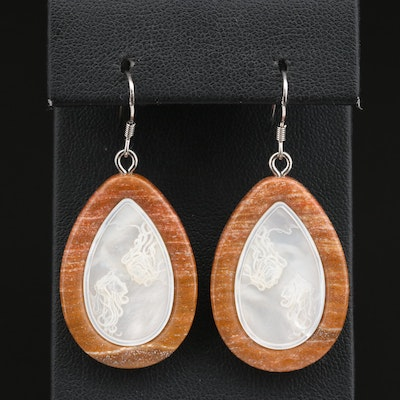 Jasper and Carved Mother of Pearl Dangle Earrings with Sterling Ear Wires