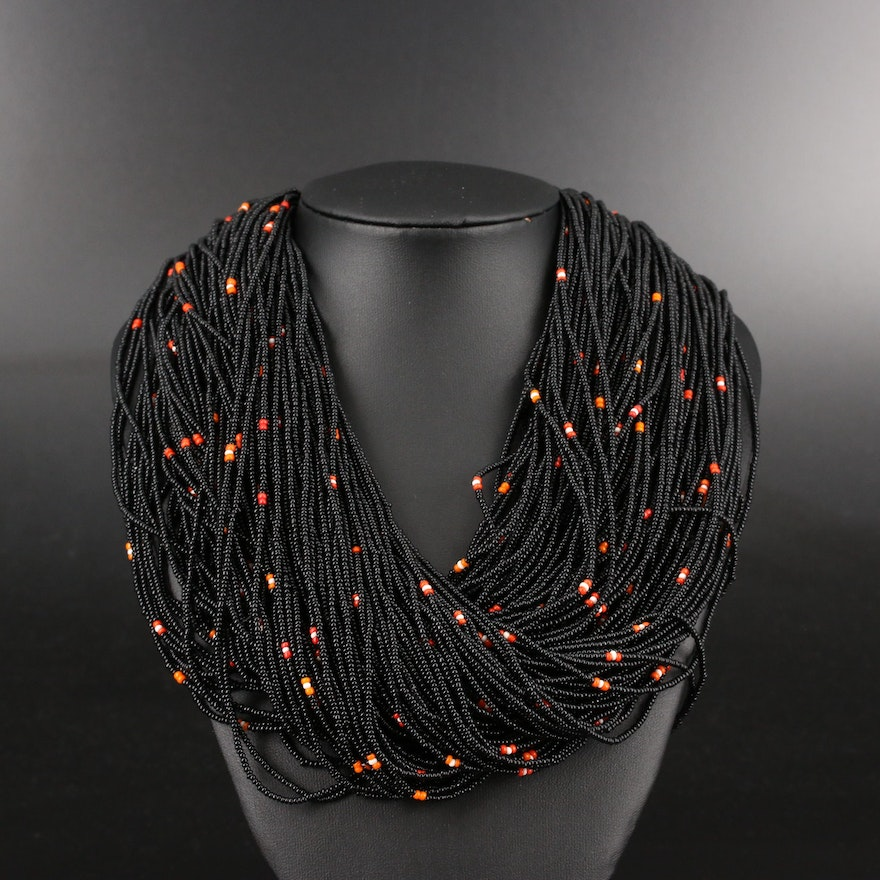 Multi-Strand Glass Seed Bead Necklace