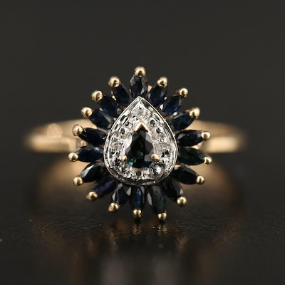 10K Sapphire and Diamond Ring with Sapphire Halo