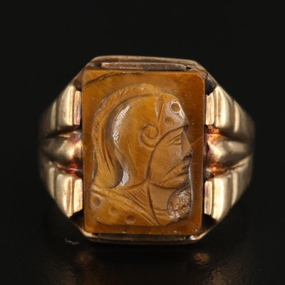Vintage 10K Tiger's Eye Centurion Cameo Ring