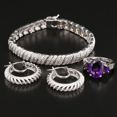 Selection of Jewelry Including Sterling Amethyst Ring