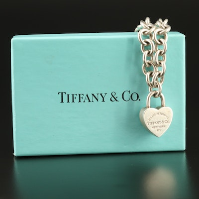 Tiffany & Co.Sterling Padlock Heart Pendant Necklace with Box